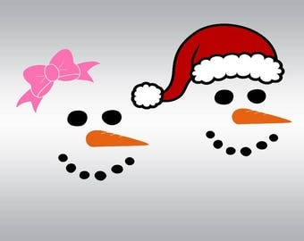 snowman boy girl SVG Clipart Cut Files Silhouette Cameo Svg for Cricut and Vinyl File cutting Digital cuts file DXF Png Pdf Eps