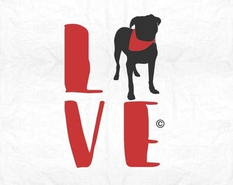 love boxer bandana SVG Clipart Cut Files Silhouette Cameo Svg for Cricut and Vinyl File cutting Digital cuts file DXF Png Pdf Eps