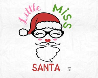 little miss santa SVG Clipart Cut Files Silhouette Cameo Svg for Cricut and Vinyl File cutting Digital cuts file DXF Png Pdf Eps