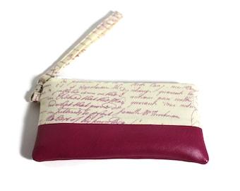 Phone Wristlet Clutch, Antique Writing Phone Wristlet, iPhone Wristlet, iPhone 7 Case, iPhone Wristlet, Clutch Purse