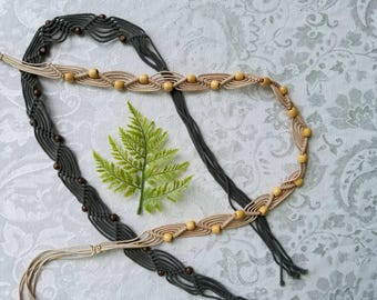 Set of two vintage macrame belts with wooden bead accents