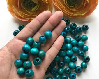 12mm Wood Beads, 75pcs Blue Turquoise Wood Round Beads, Spacers Wooden Beads, Jewelry Supplies, Wholesale beads,