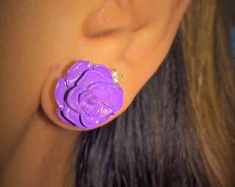 Purple Rain Rose Earrings