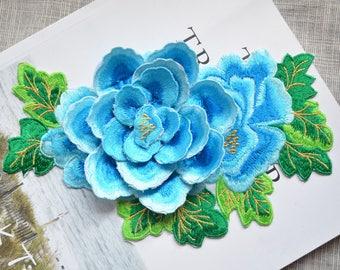 Blossom blue 3D flower patch ,big blue flower embroidered Iron-on patch ,pink flower embroidered patch