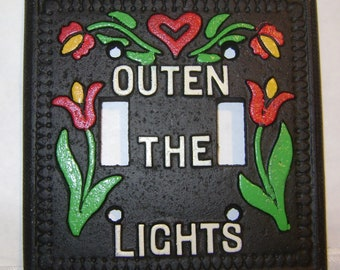 vintage cast iron OUTEN The LIGHTS Double Switch Light Plate with hand painted Tulips and PA Dutch Flowers