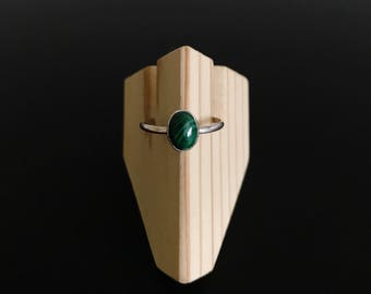 Malachite Sterling Silver Ring - Size 6.5 and 7.5
