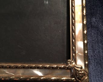 Vintage Mother Of Pearl Frame With Brass Accents.