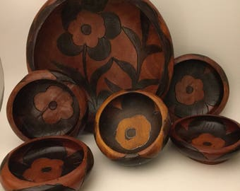 Handcrafted Floral  Wood Bowl Set /Salad Bowls