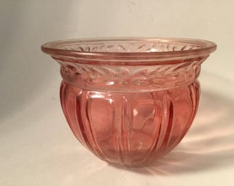 Glass bowls. Pink Glass Planter Bowl. Pressed Colored Glass. Fluted Bowl.