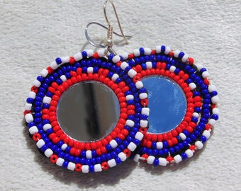 Native Lakota Beaded Medallion Earrings - Mirror medallion - Red, white and blue - black leather backing - patriotic 4th of July  [JR-03]