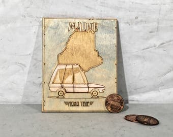 Wood Engraved Maine Magnet