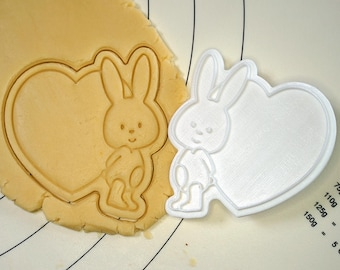 Bunny with Heart Cookie Cutter and Stamp