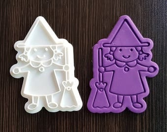 Witch Holding Broomstick Cookie Cutter and Stamp