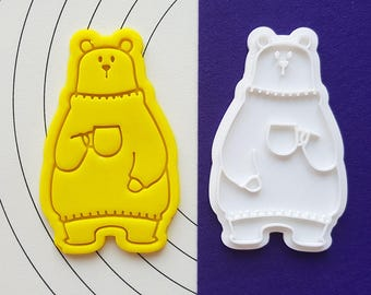 Polar Bear holding a Cup Cookie Cutter and Stamp
