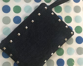 Denim Studded Clutch. Denim Clutch. Fashion Clutch. Studded Clutch.