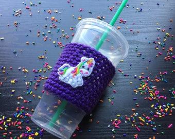 Unicorn, Coffee cup cozy, Crochet coffee cozy, Reusable coffee sleeve, Cup cozy, Coffee Cozy, Mug cozy, Coffee accessories, Coffee holder