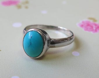 Sale - Turquoise Ring, 925 sterling silver, Turquoise, december birthstone, Turquoise blue, gemstone ring, birthstone jewelry, birthstone