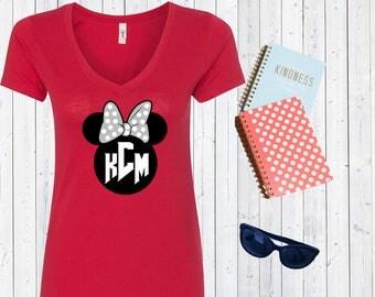 Minnie Mouse Head with Custom Initials. Cute Minnie Mouse Shirt. Disneyland Custom Shirt. Disneyworld Shirt. Disney Gift