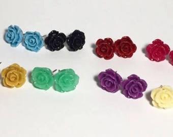 Rose earrings, Resin rose studs, Rose studs, Birthday gift, Stocking stuffer, Back to school, Halloween,