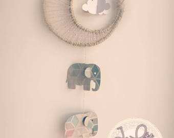 decorative three elephants and cloud mobile