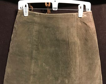 Vintage Kathy Ireland Olive green leather mini skirt size 30