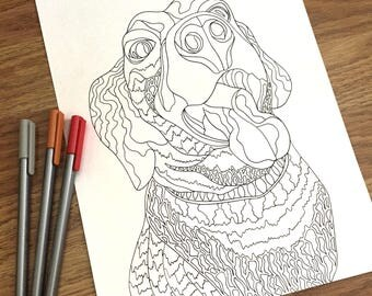 happy dog coloring page zentangle design digital download printable adult coloring page