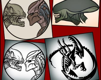 Alien vs Predator svg files, Alien vs predator layered and silhouette svg files made for the cricut and other cutting machines