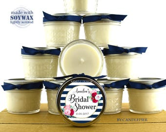 12 ct Blue stripes and floral wedding favors, 4 oz personalized soy candles, baby shower favors, bridal shower favors or any occasion