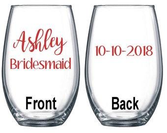 Set of 8 / Personalized Wine Glass / Bachelorette Party / Bridal Party Wine Glasses / Wine Glass / Bridesmaid Gift / Wedding Wine Glasses