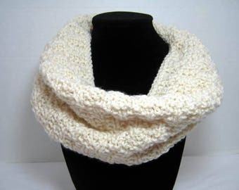 Cream Knitted Cowl Scarf, WhimsicalJD