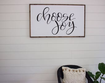 Choose joy - framed sign - hand lettered sign - fixer upper - hand painted sign - farm house decor - large wood sign