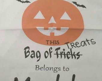 Trick or treat bag- Halloween bag- Beggers night- Candy sack- Pumpkin bag- Kids trick or treat- Kids Halloween- Child name- Candy bag- Kids