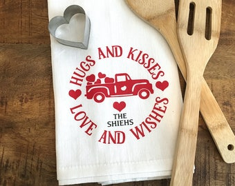Personalized Valentines Day Kitchen Towel - Valentine Heart Truck - Hugs and Kisses Anniversary Love Tea Towel - Flour Sack V Day Decor