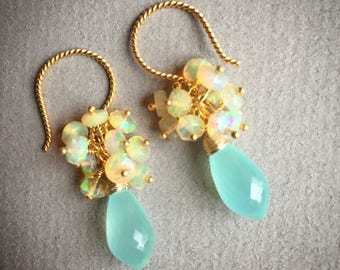 Aqua chalcedony and Ethiopian opal cluster earrings
