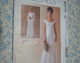 McCalls 4714 Alicyn Exclusives  Misses / Miss Petite Lined Bridal Gowns Sewing Pattern - UNCUT -  Size 10 12 14 16