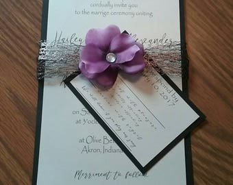 Wedding Invitation, Blacktie Wedding, Elegant wedding, Elegant Purple Wedding Invitations, Deposit only! Custom Wedding Invitations