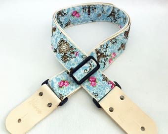 """Pre-launch Proto sale! NuovoDesign """"Eiffel"""" fabric Guitar strap with leather connector and free end pin & tie lace"""