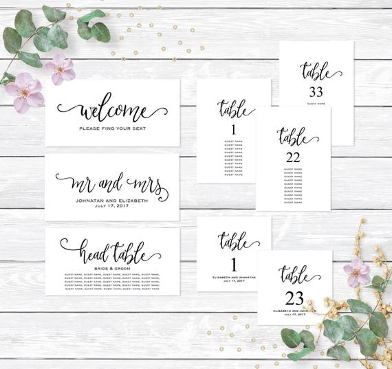 Printable Seating Chart For Wedding Reception: Wedding Reception Seating Chart Template Editable Printable