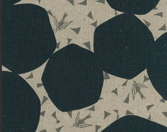 Kokka Fabric Linen Canvas - Japanese Fabric - Echino 2018 Bubbles in Gray - Cotton Canvas Fabric - Half Yard (about 50cm) Pre Cut