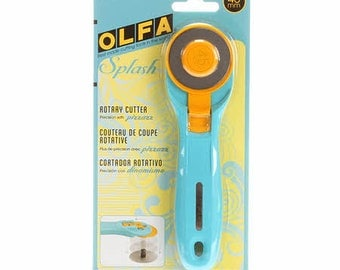Olfa Splash Rotary Cutter - 45mm - Aqua Blue Rotary Cutter