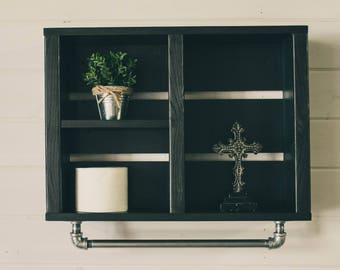 Black Bath Shelf w/ Industrial Towel Bar | Rustic Bath Shelf | Bathroom Wall Cabinet