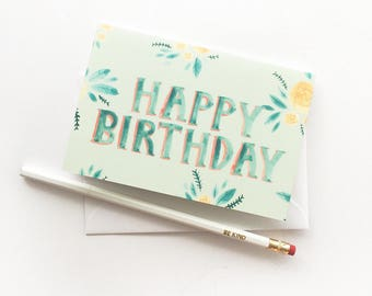 Greeting Card - Cute Floral Stationery - Happy Birthday Card - A6 Greeting Card - Happy Bday Card