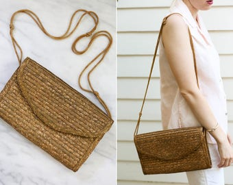Vintage Woven Straw Side Bag/ Straw Clutch
