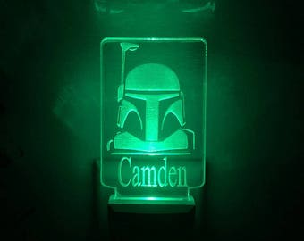 Star Wars Boba Fett Inspired Wall Night Light Customizable with Name