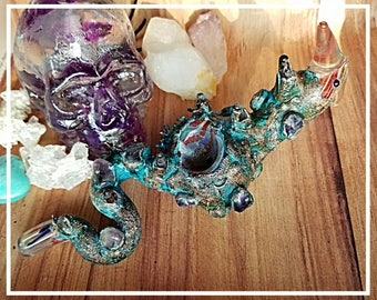 Dragon Electroformed Glass Tobacco Pipe Electroformed Amethyst Copper Blue Patina Plated Large Dragon Pipes Gift for Him or Her