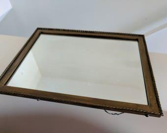 Vintage Mirror Brass Wall Mirror Hanging Patina