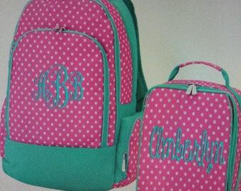 monogrammed polka dot back pack/lunch box
