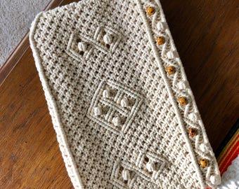 Vintage crochet clutch purse