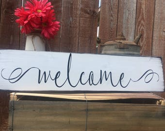 "Welcome Sign-Large Distressed Wood-24""x5.5""-Black and White-Farmhouse Decor-Fixer Upper Style-Magnolia Market-Wooden Home Decor-Gallery Wall"
