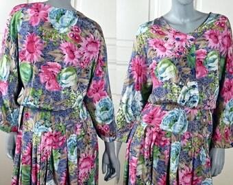 Vintage Floral Dress, 1980s Scandinavian Summer Dress, Pink Blue Green Flower Dress, Midi Dress, Made in Norway: Size 8 US, Size 12 UK